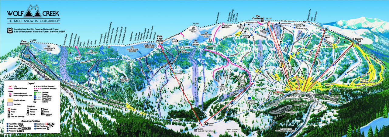 Wolf Creek Ski Map Area Maps   Wolf Creek Ski Area   ColoradoWolf Creek Ski Area  Wolf Creek Ski Map